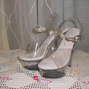 Ellie M Brook Platform Sandal Clear Plastic Heel 7